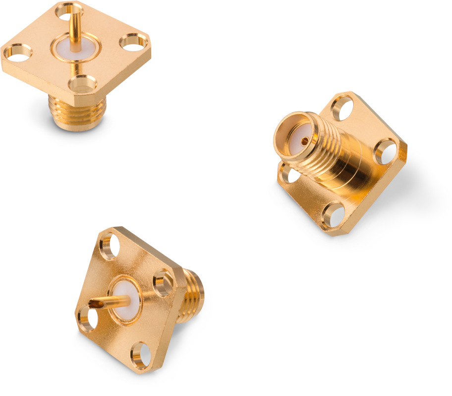 WR-SMA Panel Jack 4-Hole Flange Straight Solder Cup Picture