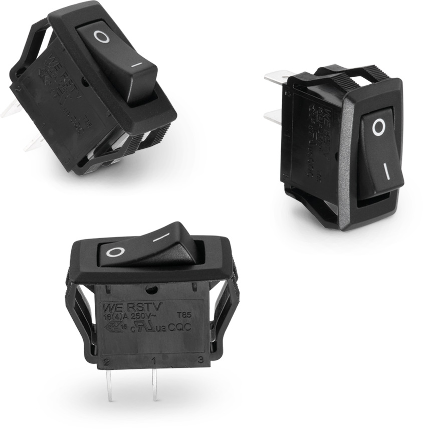 WS-RSTV 27.6 x 13.8 mm Panel Cut-Out Rocker Switch with 0.25'' Quick connect terminal Produktbild