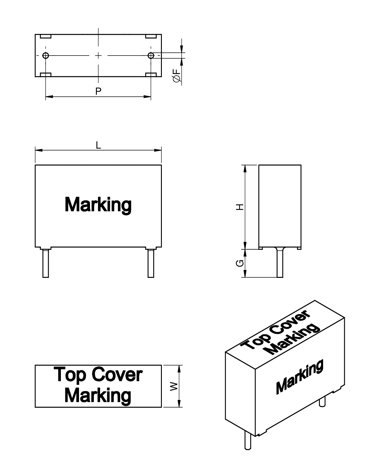 WCAP-FTX2 Film Capacitors Dimensions