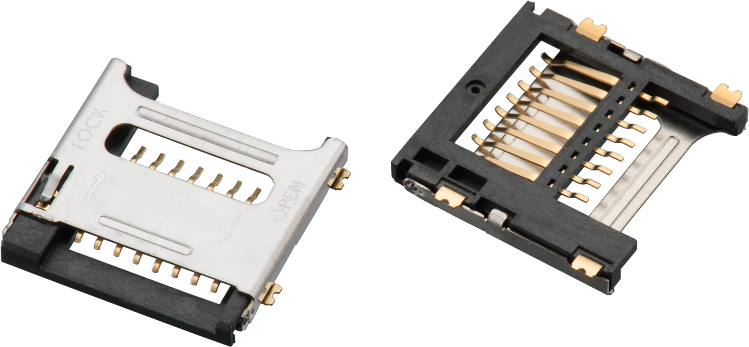 WR-CRD Micro SD Card Connector Hinge 8 pins Produktbild