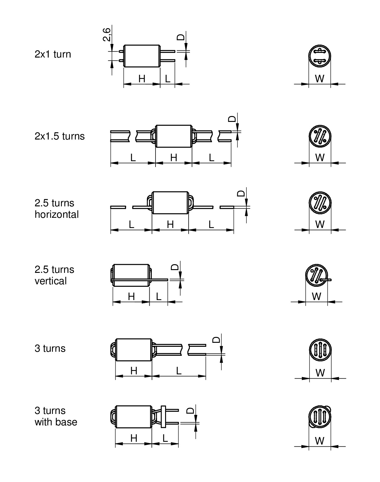 WE-UKW EMI Suppression 6-Hole Ferrite Bead Dimensions