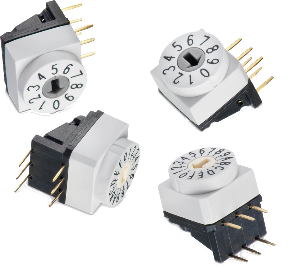 WS-ROTU THT Rotary Switch Right Angled with Arrow Type Actuator, 5.08 mm Pitch, 10x10 mm Picture