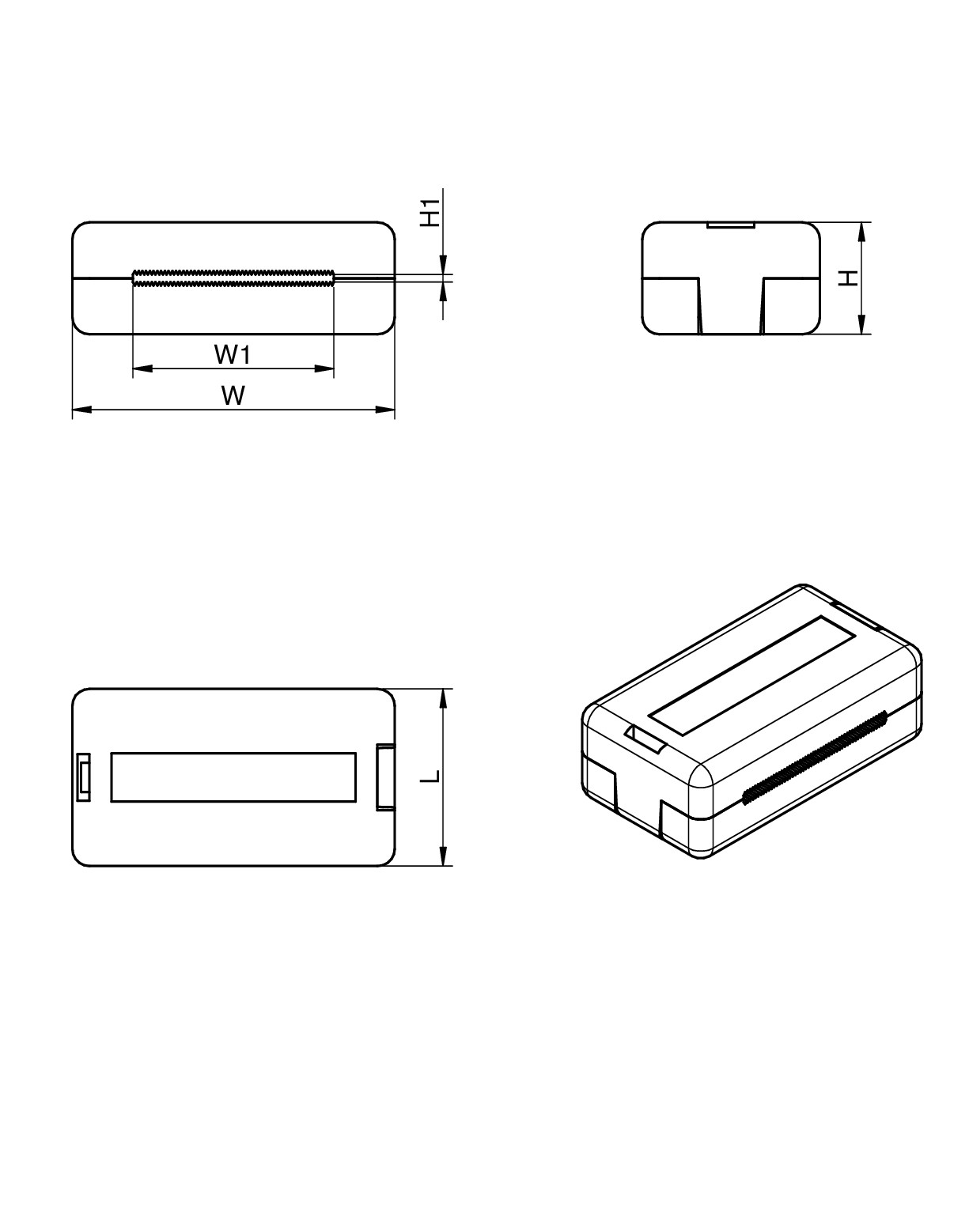 WE-FCAC Ferrite Core Assembly Components Dimensions