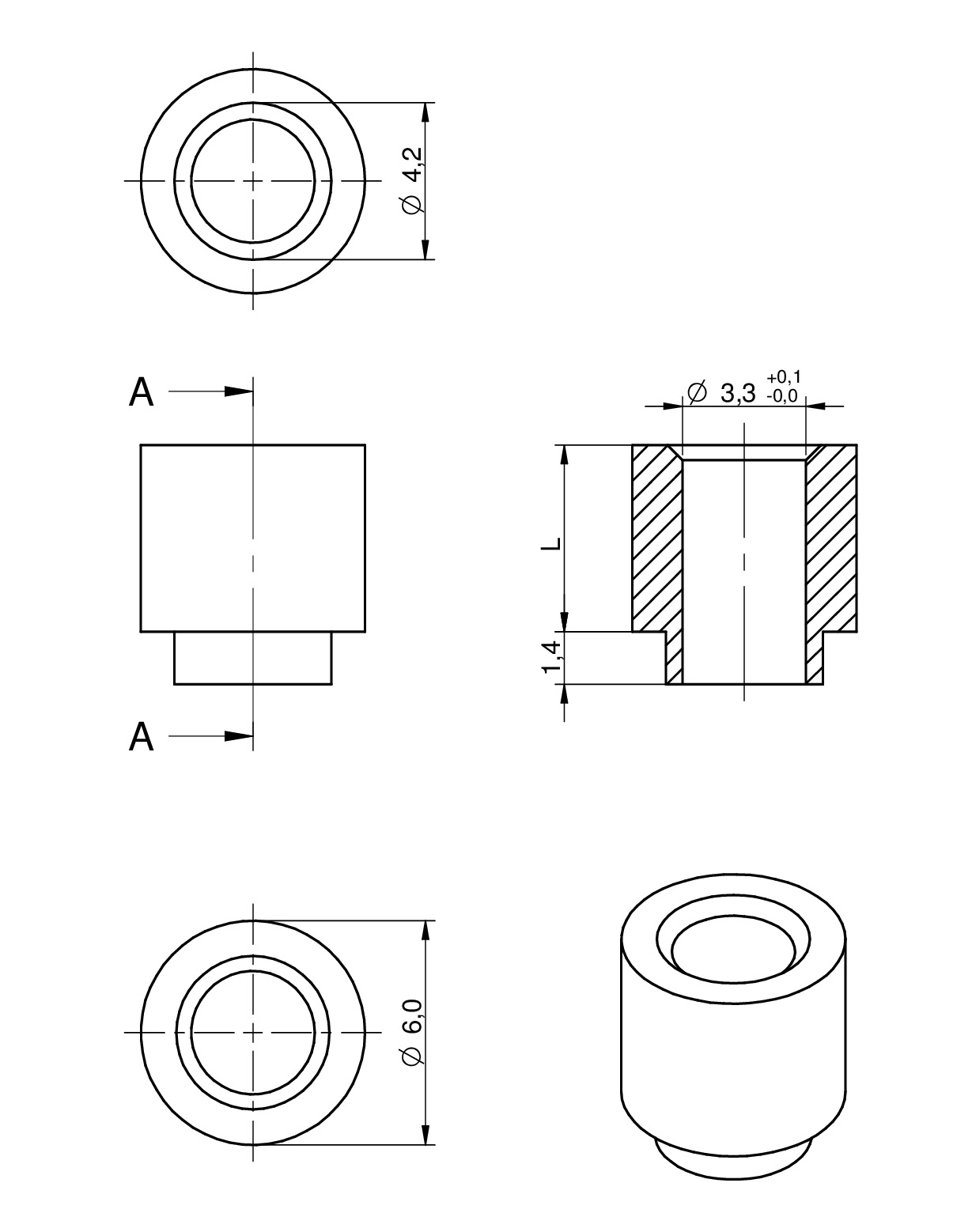WA-SMST SMT Steel Spacer Ø 3.3 Internal non stop Dimensions